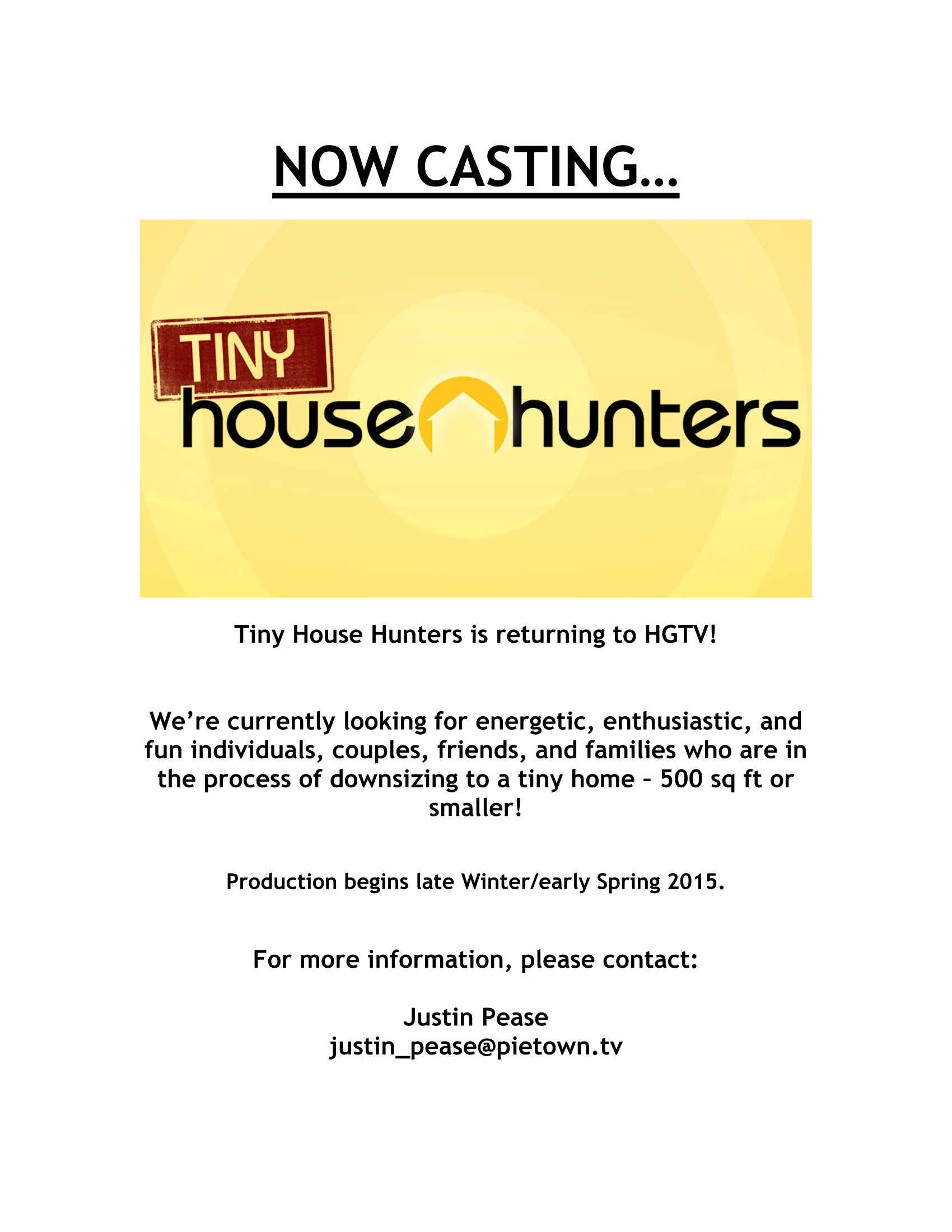 Casting Call For Tiny House Hunters Micro Showcase